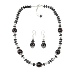 Pearlz Ocean Inspiring Garnet, Hematite Beaded Necklace and Earrings Trendy Jewelry Set for Women