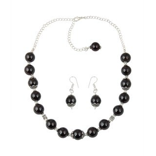 Pearlz Ocean Charming Garnet Beaded Necklace and Earrings Trendy Jewelry Set for Women