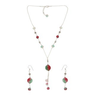 Pearlz Ocean Mystical Dyed Quartzite Beaded Necklace and Earrings Trendy Jewelry Set for Women