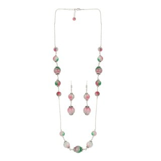 Pearlz Ocean Distinctive Dyed Quartzite Beaded Necklace and Earrings Trendy Jewelry Set for Women