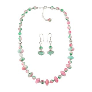 Pearlz Ocean Alluring Dyed Quartzite Beaded Necklace and Earrings Trendy Jewelry Set for Women