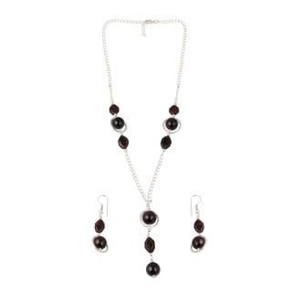 Pearlz Ocean Garnet Beaded Necklace and Earrings Trendy Jewelry Set for Women