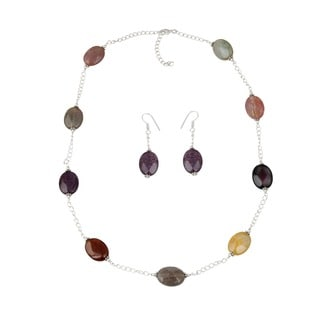 Pearlz Ocean Multi Color Poppy Agate Beaded Necklace and Earrings Trendy Jewelry Set for Women