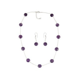 Pearlz Ocean Drastic Amethyst Beaded Necklace and Earrings Trendy Jewelry Set for Women