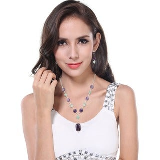 Pearlz Ocean Marvelous Amethyst, Green Fluorite Beaded Necklace and Earrings Trendy Jewelry Set for Women
