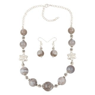 Pearlz Ocean Precious muti color Botswana Agate Beaded Necklace and Earrings Trendy Jewelry Set for Women