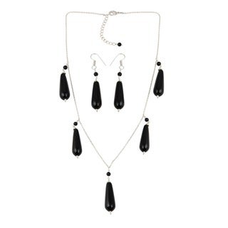 Pearlz Ocean Pleasing Black Agate, Black Onyx Beaded Necklace and Earrings Trendy Jewelry Set for Women