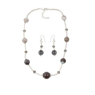 Pearlz Ocean Gleaming muti color Botswana Agate Beaded Necklace and Earrings Trendy Jewelry Set for Women