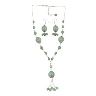 Pearlz Ocean Captivating Green Aventurine Beaded Necklace and Earrings Trendy Jewelry Set for Women
