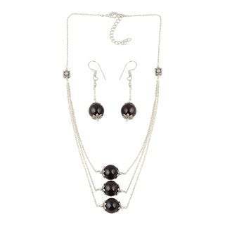 Pearlz Ocean Joyous Garnet Beaded Necklace and Earrings Trendy Jewelry Set for Women