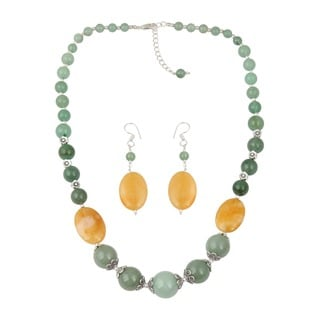 Pearlz Ocean Exquisite Aventurine Beaded Necklace and Earrings Trendy Jewelry Set for Women