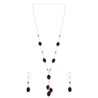 Pearlz Ocean Stylish Garnet Beaded Endless Necklace and Earrings Trendy Jewelry Set for Women