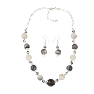 Pearlz Ocean Luxurious muti color Botswana Agate Beaded Necklace and Earrings Trendy Jewelry Set for Women