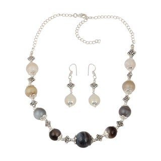 Pearlz Ocean Ornate muti color Botswana Agate Beaded Necklace and Earrings Trendy Jewelry Set for Women