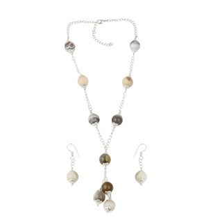 Pearlz Ocean Elegent muti color Botswana Agate Beaded Necklace and Earrings Trendy Jewelry Set for Women