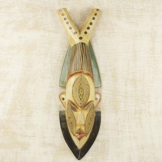 Handcrafted Sese Wood 'Man of a Good Heart' African Wall Mask (Ghana)