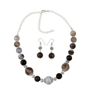 Pearlz Ocean Meticulous muti color Botswana Agate Beaded Necklace and Earrings Trendy Jewelry Set for Women