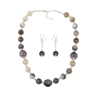Pearlz Ocean Immaculate muti color Botswana Agate Beaded Necklace and Earrings Trendy Jewelry Set for Women