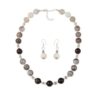 Pearlz Ocean Botswana Agate Beaded Necklace and Earrings Trendy Jewelry Set for Women