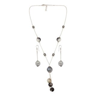 Pearlz Ocean Multi color Botswana Agate Beaded Necklace and Earrings Trendy Jewelry Set for Women