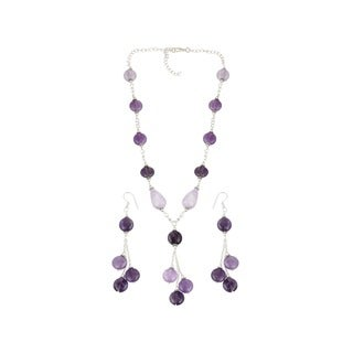 Pearlz Ocean Gorgeous Amethyst, Amethyst Lavender Beaded Necklace and Earrings Trendy Jewelry Set for Women