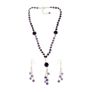 Pearlz Ocean Appropriate Amethyst Beaded Necklace and Earrings Trendy Jewelry Set for Women