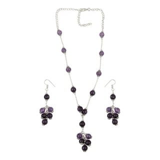 Pearlz Ocean Joyful Amethyst Beaded Necklace and Earrings Trendy Jewelry Set for Women