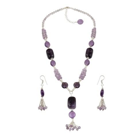 Pearlz Ocean Square Nuggets Amethyst Necklace and Earrings, Amethyst Brazilian Beaded Trendy Jewelry Set for Women - Purple