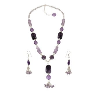 Pearlz Ocean Square Nuggets Amethyst, Amethyst Brazilian Beaded Necklace and Earrings Trendy Jewelry Set for Women