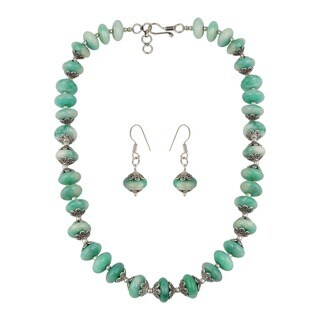 Pearlz Ocean Dyed Quartzite Beaded Necklace and Earrings Trendy Jewelry Set for Women