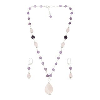 Pearlz Ocean Graceful Rose Quartz, Amethyst Beaded Necklace and Earrings Trendy Jewelry Set for Women
