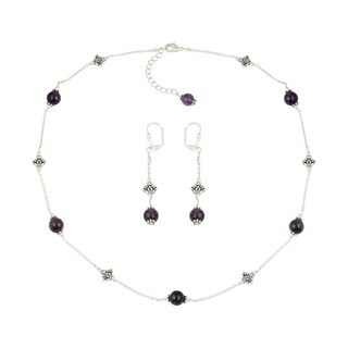 Pearlz Ocean Fashion Faithful Amethyst Beaded Necklace and Earrings Trendy Jewelry Set for Women