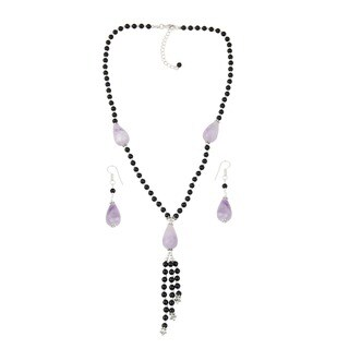 Pearlz Ocean Embellished Amethyst Lavender, Black Onyx Beaded Necklace and Earrings Trendy Jewelry Set for Women