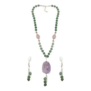 Pearlz Ocean Perfect Amethyst Lavender, Rose Quartz and Aventurine Green Beaded Necklace and Earrings Trendy Jewelry Set
