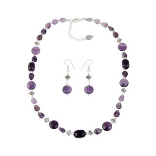 Pearlz Ocean Exquisite Amethyst Beaded Necklace and Earrings Trendy Jewelry Set for Women