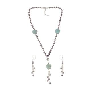 Pearlz Ocean Comfortable Green Amazonite, Amethyst Brazilian Beaded Necklace and Earrings Trendy Jewelry Set for Women