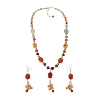 Pearlz Ocean Beautiful Carnelian Beaded Necklace and Earrings Trendy Jewelry Set for Women