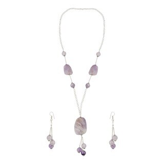 Pearlz Ocean Adorable Amethyst Lavender Beaded Endless Necklace and Earrings Trendy Jewelry Set for Women