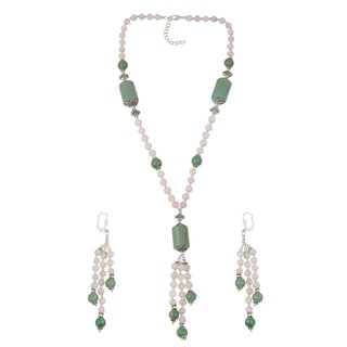 Pearlz Ocean Enticing Aventurine Green, Rose Quartizite Beaded Necklace and Earrings Trendy Jewelry Set for Women