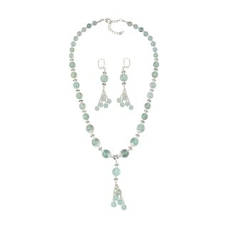 Pearlz Ocean Seducing Green Fluorite Beaded Necklace and Earrings Trendy Jewelry Set for Women
