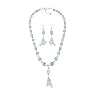 Pearlz Ocean Seducing Green Fluorite Beaded Necklace and Earrings Trendy Jewelry Set for Women