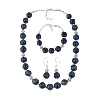 Pearlz Ocean Fascinating Dyed Lapis Lazuli Beads Necklace Earrings and Bracelet Trendy Jewelry Set for Women|https://ak1.ostkcdn.com/images/products/12913484/P19668857.jpg?impolicy=medium