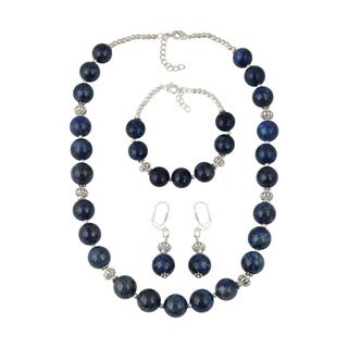 Pearlz Ocean Fascinating Dyed Lapis Lazuli Beads Necklace Earrings and Bracelet Trendy Jewelry Set for Women
