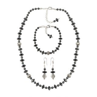 Pearlz Ocean Hypnotizing Hematite Faceted Beads Necklace Earrings and Bracelet Trendy Jewelry Set for Women