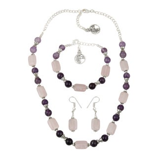 Pearlz Ocean Stunning Rose Quartz, Amethyst Beads Necklace Earrings and Bracelet Trendy Jewelry Set for Women