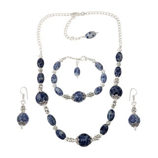 Pearlz Ocean Graceful Sodalite Beads Necklace Earrings and Bracelet Trendy Jewelry Set for Women