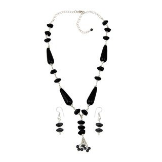 Pearlz Ocean Fetching Black Agate, Black Onyx Beaded Necklace and Earrings Trendy Jewelry Set for Women
