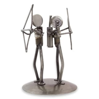 Handmade Recycled Auto Parts 'Eco Archers' Sculpture (Mexico)
