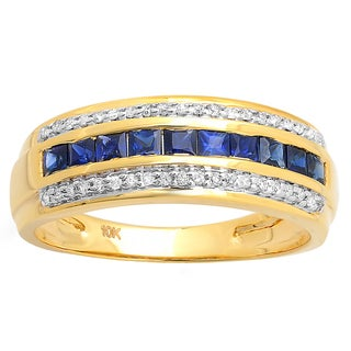 Elora 10k Yellow Gold 3/4ct TDW Princess-cut Blue Sapphire and Round Diamond Wedding Band (H-I, I1-I2)
