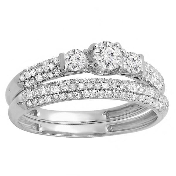 wedding rings bridal jewelry sets elora 14k white gold 78ct tdw round diamond 3 stone bridal engagement ring - Engagement Ring Wedding Band Set